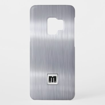 Faux Brushed Aluminum with custom monogram Case-Mate Samsung Galaxy S9 Case