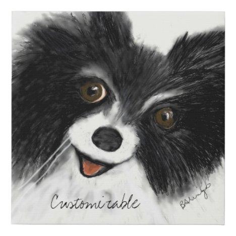 Faux Canvas Print Trendy B&W Cute Chihuahua