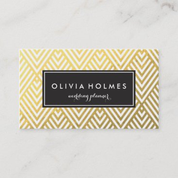 Faux Foil Gold Chevron Pattern Business Card