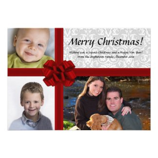 Faux Gift Box, 3-Photo Christmas Greeting Card