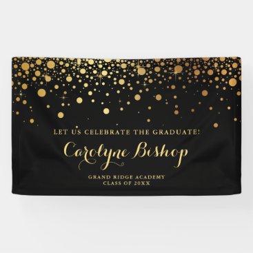 Faux Gold Confetti Personalized Graduation   Black Banner