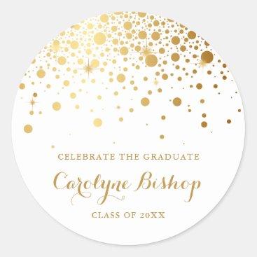 Faux Gold Confetti Personalized Graduation Sticker