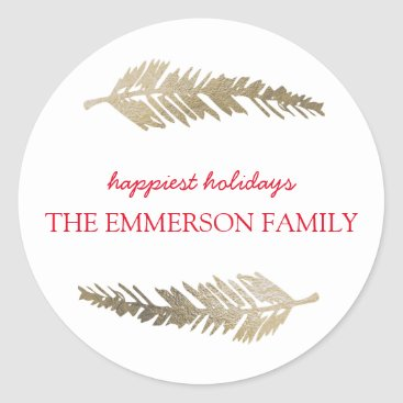 Faux Gold Foil Pine Holiday Gift Tag Sticker