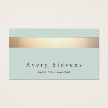 Faux Gold Foil Striped Elegant Light Blue Chic Business Card