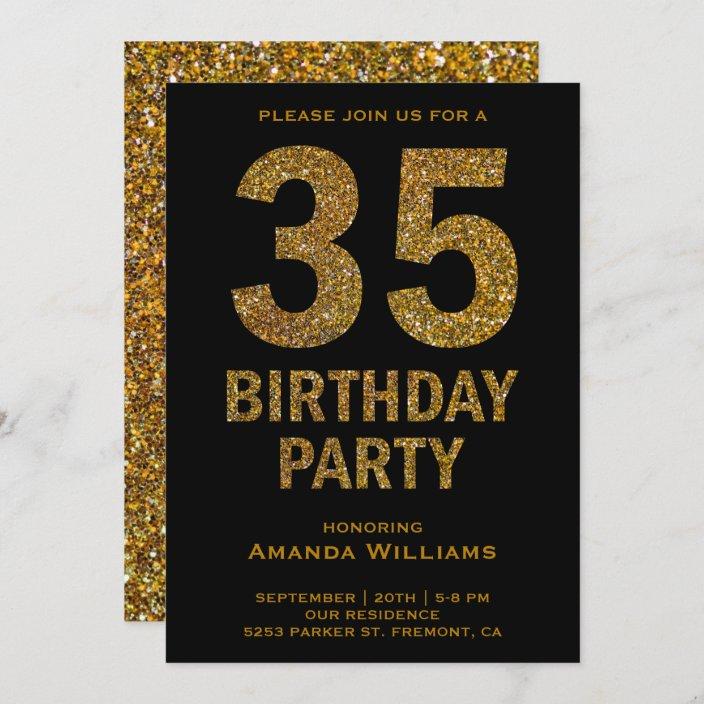 faux gold glitter 35th birthday party invitation zazzle com