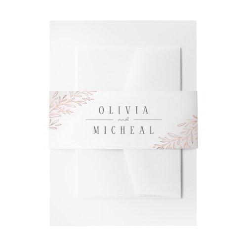 Faux rose gold botanical foliage elegant wedding invitation belly band