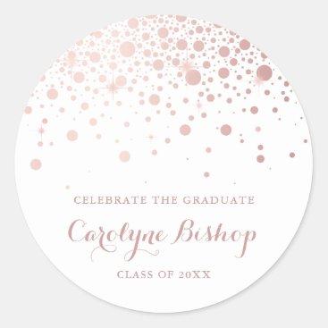 Faux Rose Gold Confetti Personalized Graduation Classic Round Sticker