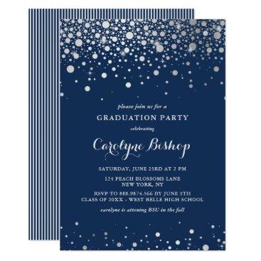 Faux Silver Confetti Navy Graduation Invitation