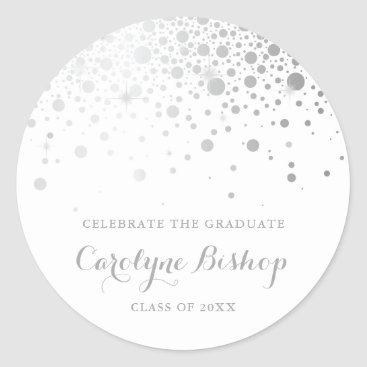 Faux SIlver Confetti Personalized Graduation Classic Round Sticker