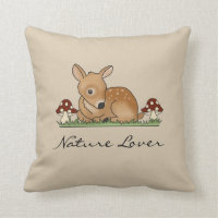 Fawn Deer Art Cartoon Drawing Mushrooms Nature Throw Pillow
