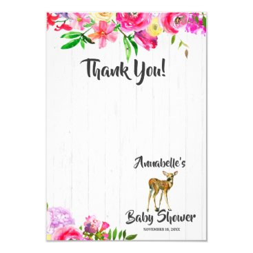 Fawn Deer Watercolor Floral Baby Shower Thank You Card