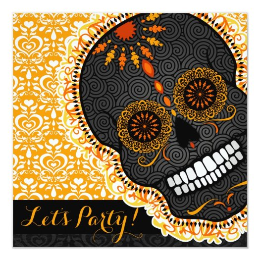 Feliz Muertos Tilted Orange and Black Sugar Skull Invitation