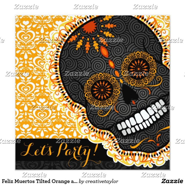 Feliz Muertos Tilted Orange and Black Sugar Skull Invitation