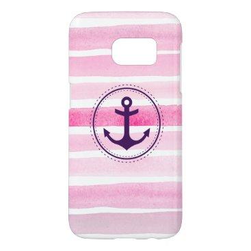 Feminine Pink Watercolor Stripes Nautical Anchor Samsung Galaxy S7 Case