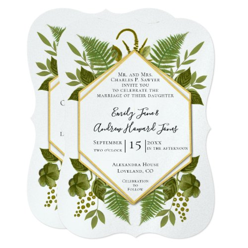 Ferns and Fauna Greenery Wedding Invitation