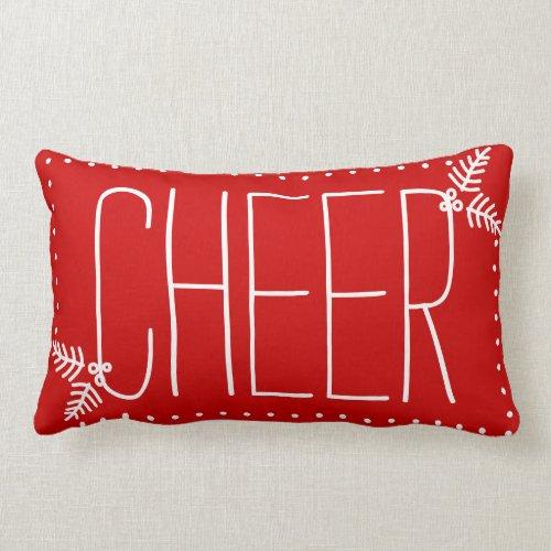 Festive Christmas Cheer Red White Winter Pillow