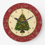 Festive Christmas Tree Large Clock