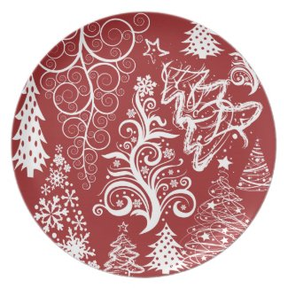 Festive Holiday Red Christmas Tree Xmas Pattern Plates