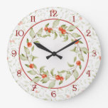 Festive Watercolor Style Leaves and Berries Large Clock