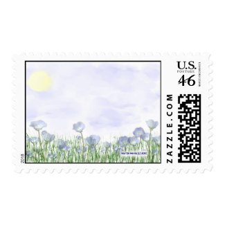 Field of Blue Flowers Postage stamp