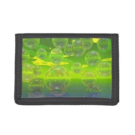 Field of Clarity, Abstract Yellow Green Ocean Trifold Wallet