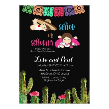 Fiesta Mexican Gender Reveal Invitation