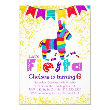 Fiesta Piñata Birthday Party Colorful Invitation