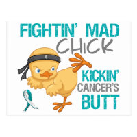 Fightin Chick Cervical Cancer Postcard