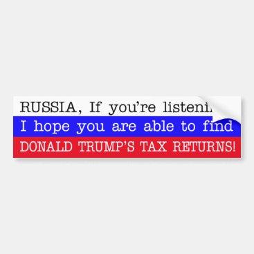 Find Donald Trump's Tax Returns Russia Bumper Sticker