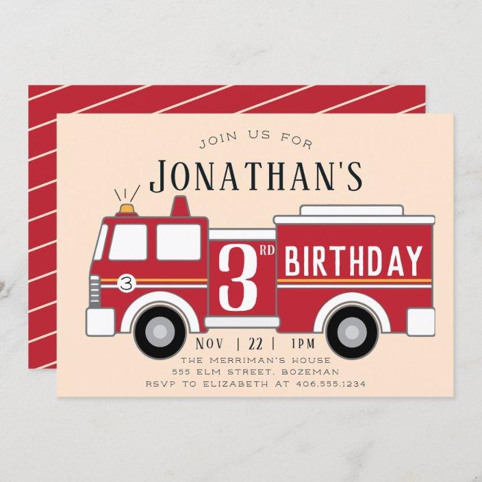 fire truck kids birthday invitation zazzle com