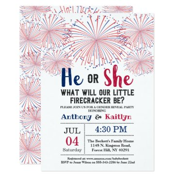 Firecracker 4th Of July Gender Reveal Party Invitation