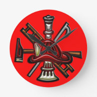 Firefighter Fire and Rescue Department Emblem Round Wall Clock
