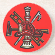 Firefighter Fire and Rescue Department Emblem Coasters