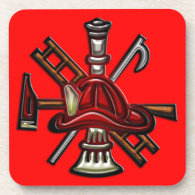 Firefighter Fire and Rescue Department Emblem Coaster