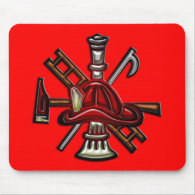 Firefighter Fire and Rescue Department Emblem Mousepads