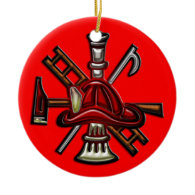 Firefighter Fire and Rescue Department Emblem Christmas Tree Ornament