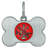 Firefighter Fire and Rescue Department Emblem Pet ID Tag