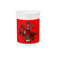 Firefighter Fire and Rescue Department Emblem Drink Pitchers