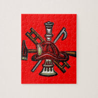 Firefighter Fire and Rescue Department Emblem Jigsaw Puzzle