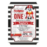 Firefighter; Firetruck Birthday Party Card