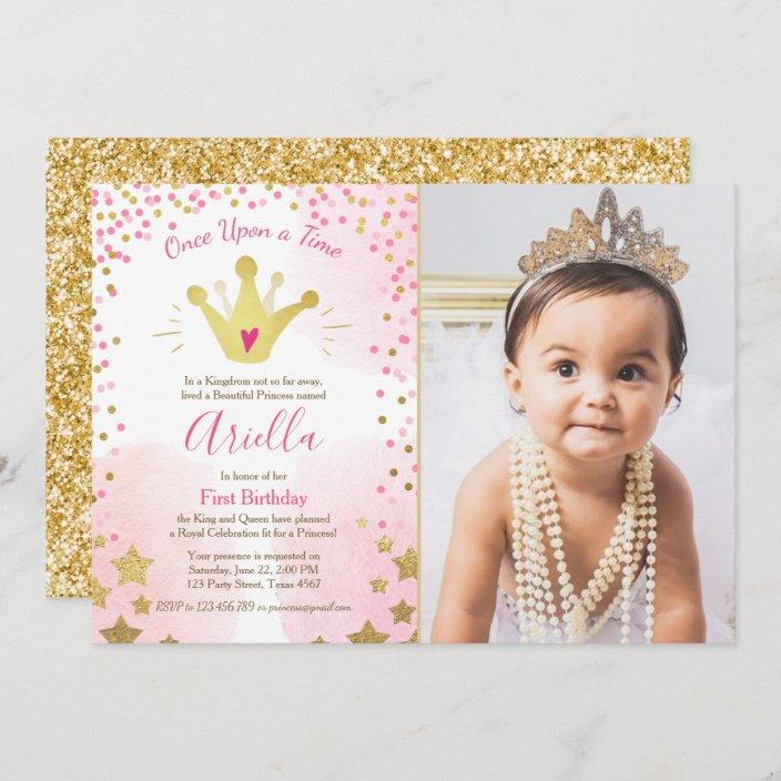 first birthday invitation princess gold pink crown zazzle com