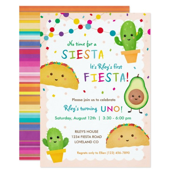 First fiesta birthday - no time for siesta invitation