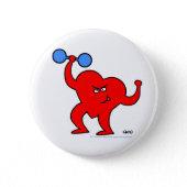 Fitness Cartoon Strongheart Button button