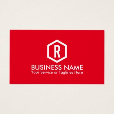 Fitness Personal Trainer Bold Monogram Modern Red Business Card