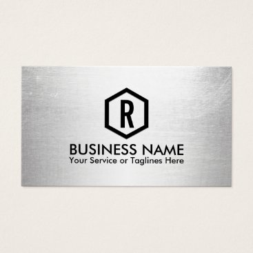 Fitness Trainer Modern Silver Monogram Business Card