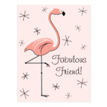 Flamingo Pink Fabulous Friend! vertical postcard