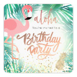 flamingo watercolor tropical birthday party invitation