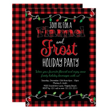 Flannel and Frost Red Black Plaid Christmas Party Invitation