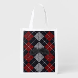 Flannel Moustache Man Reusable Grocery Tote Grocery Bags