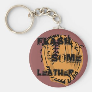 Flash Some Leather Baseball Basic Round Button Keychain